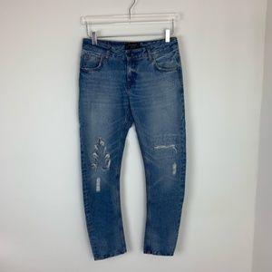 Zara Distressed High Rise Boyfriend Jeans Size 00